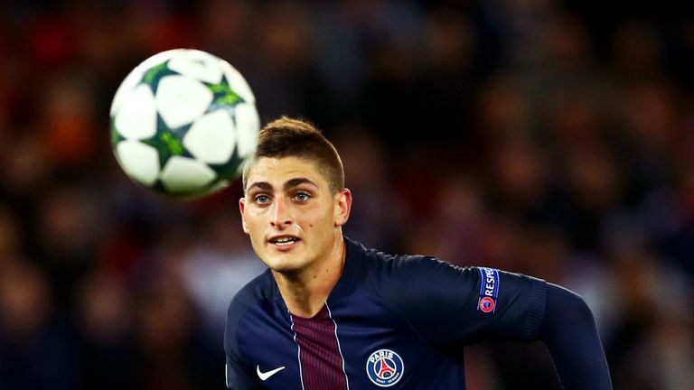 Marco Verratti in action during the Group A, Champions League, Group A match between Paris Saint-Germain Football Club and Basel