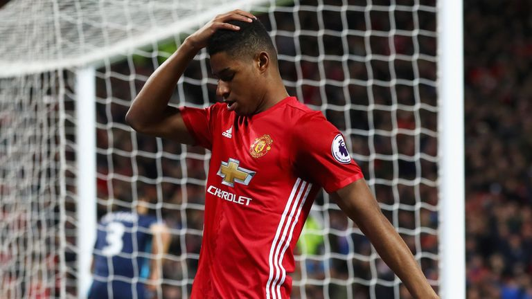 MANCHESTER, ENGLAND - DECEMBER 31:  Marcus Rashford of Manchester United reacts to a missed chance on goal during the Premier League match between Manchest