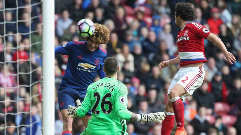 Marouane Fellaini directs a header past Victor Valdes to score the opening goal at the Riverside Stadium