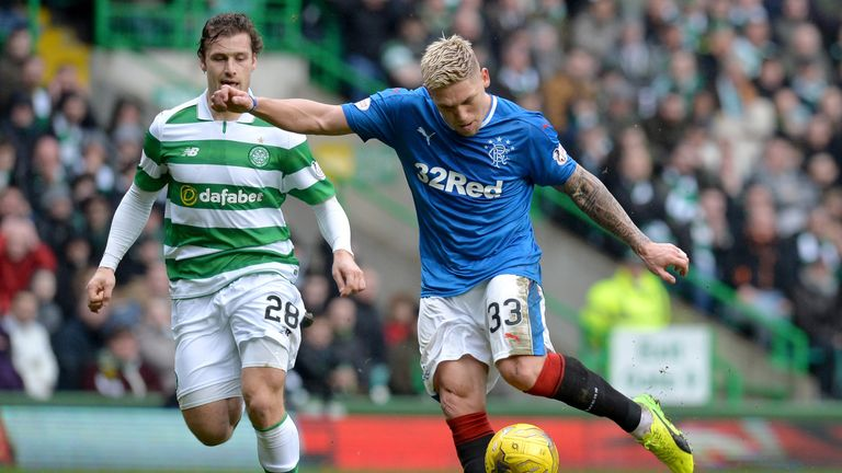 Martyn Waghorn takes aim during the opening stages of the Old Firm derby