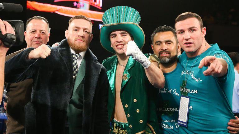 NEW YORK, NY - MARCH 17:  (L to R) Conor McGregor, Michael Conlan & Matthew Macklin celebrate Conlan's 3rd round TKO win over  Tim Ibarra in his super bant