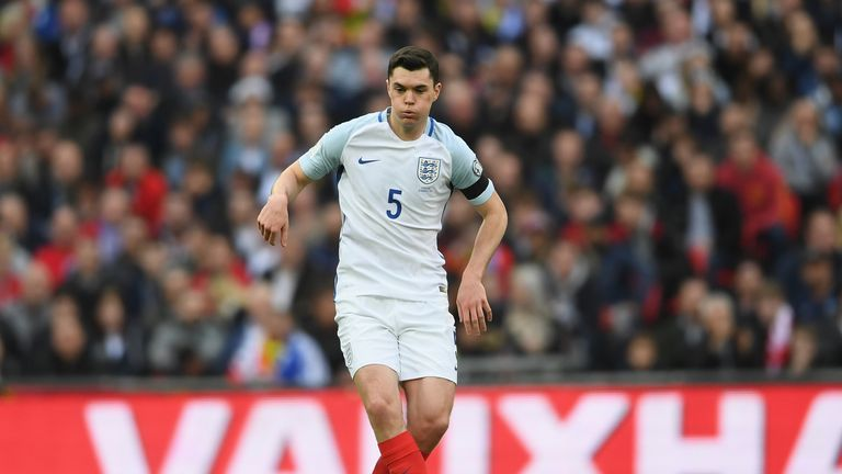 LONDON, ENGLAND - MARCH 26:  Michael Keane of England in action during the FIFA 2018 World Cup Qualifier between England and Lithuania at Wembley Stadium o