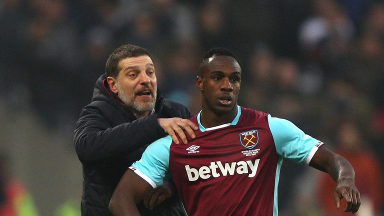 STRATFORD, ENGLAND - FEBRUARY 11: Slaven Bilic, Manager of West Ham United gives instruction to Michail Antonio during the Premier League match between Wes