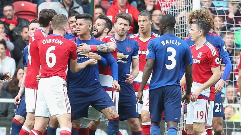 Middlesbrough and Manchester United players get embroiled in a scuffle at the Riverside