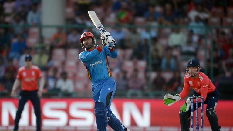 Mohammad Nabi (pictured) and Rahmat Shah scored half-centuries for Afghanistan before they collapsed