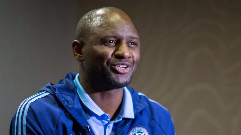 New York City FC head coach Patrick Vieira speaks at an interview with AFP during the club's annual media day on March 9, 2017, in New York. / AFP PHOTO /