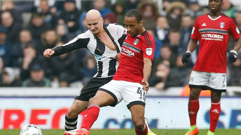Odoi gets a handful of Jonjo Shelvey (left) at St James'