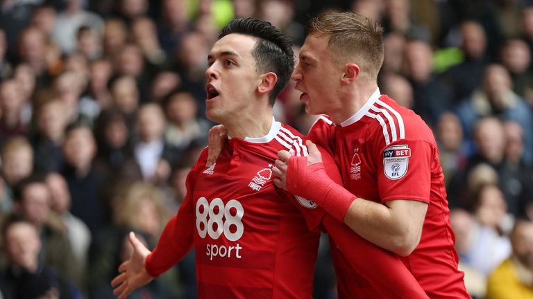Nottingham Forest's Zach Clough (left) celebrates scoring his side's first goal of the game