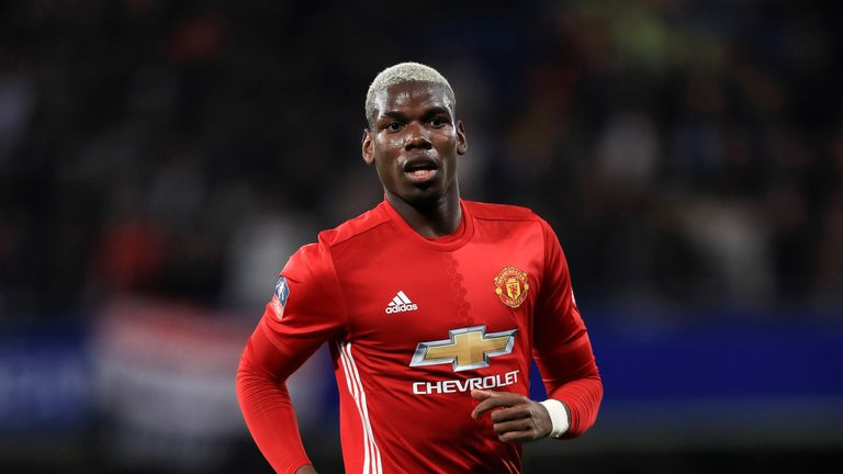 Paul Pogba in action during the FA Cup Quarter-Final at Stamford Bridge