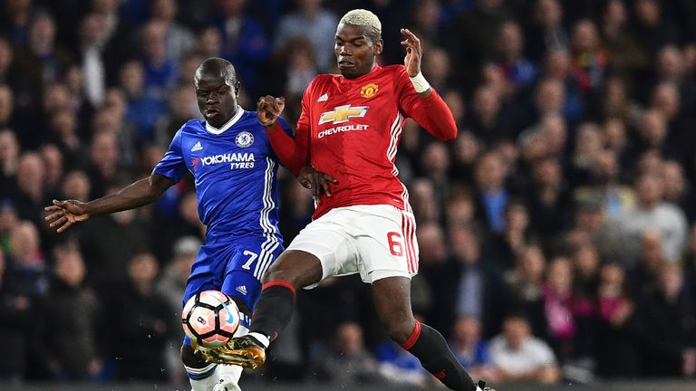 N'Golo Kante and Paul Pogba in action during the FA Cup quarter-final at Stamford Bridge