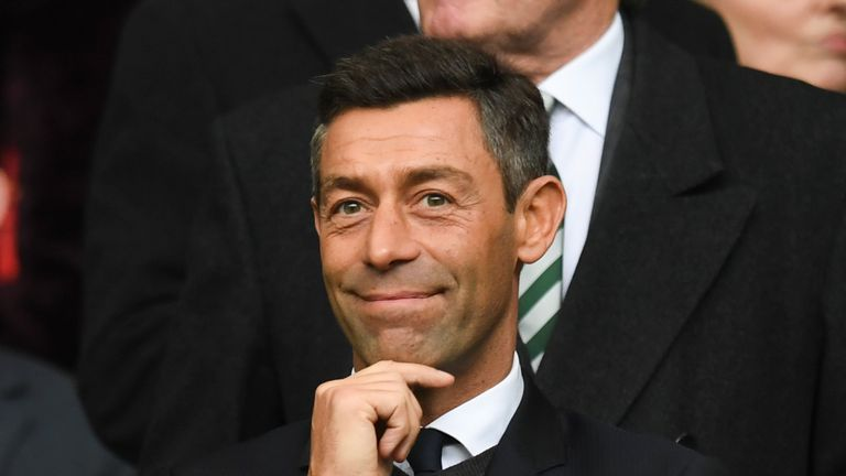 New Rangers manager Pedro Caixinha looks on from the stand at Celtic Park