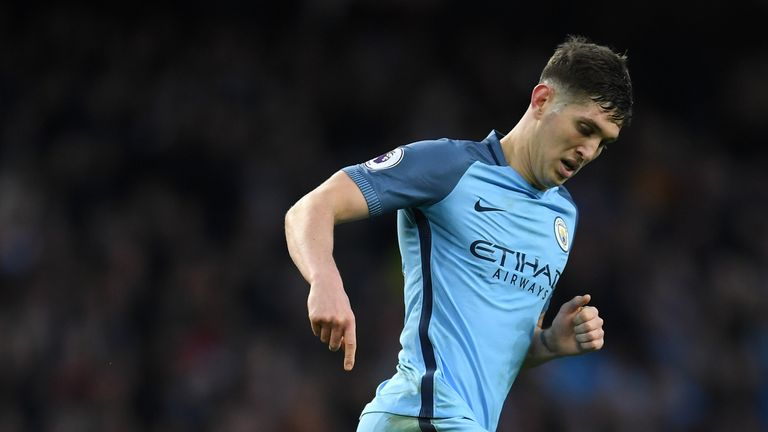 MANCHESTER, ENGLAND - MARCH 19:  John Stones of Manchester City in action during the Premier League match between Manchester City and Liverpool at Etihad S