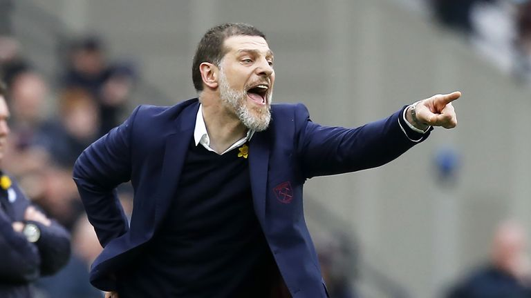 Slaven Bilic gestures on the touchline during the match against Leicester City at The London Stadium