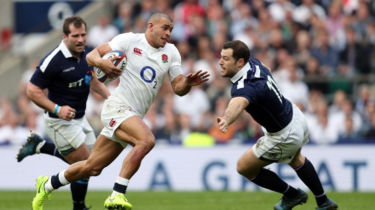 Jonathan Joseph helped himself to a hat-trick against Scotland