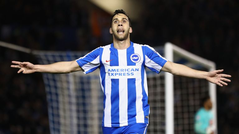 Sam Baldock celebrates after putting Brighton 2-0 up against Derby