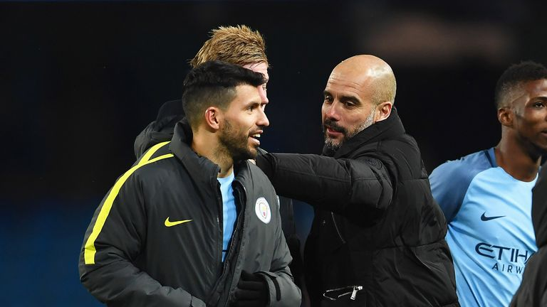 Pep Guardiola congratulates Sergio Aguero after victory in the FA Cup Fifth Round replay against Huddersfield Town