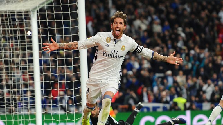 MADRID, SPAIN - MARCH 12:  Sergio Ramos of Real Madrid celebrates after scoring Real's 2nd goal during the La Liga match between Real Madrid CF and Real Be