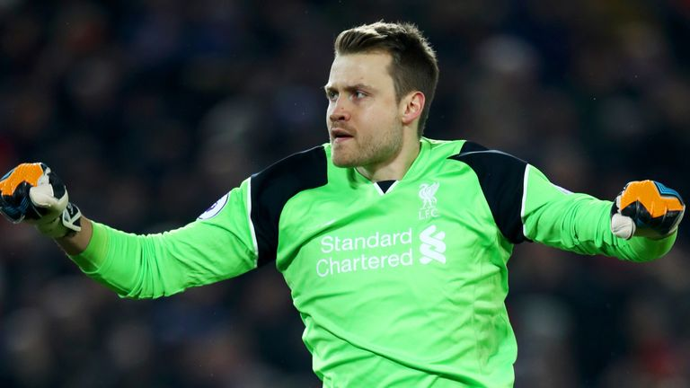 LIVERPOOL, ENGLAND - FEBRUARY 11: Simon Mignolet of Liverpool celebrates his team's second goal during the Premier League match between Liverpool and Totte