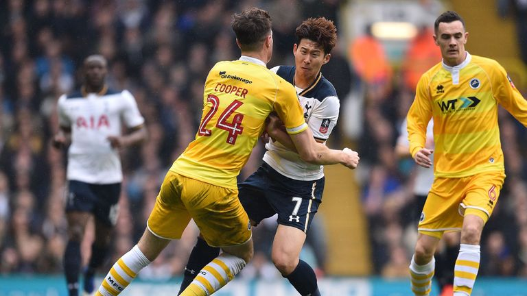 Millwall defender Jake Cooper (L) collides with Tottenham  striker Heung-Min Son during the FA Cup quarter-final
