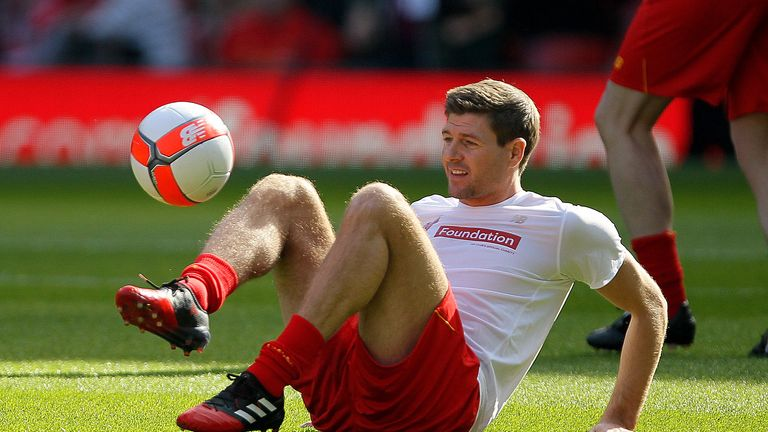 Liverpool's Steven Gerrard during warm-up before the charity match at Anfield