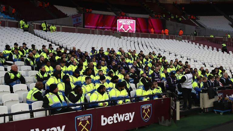 Stewards meet prior to the Premier League match between West Ham United and Chelsea at London Stadium on March 6, 2017