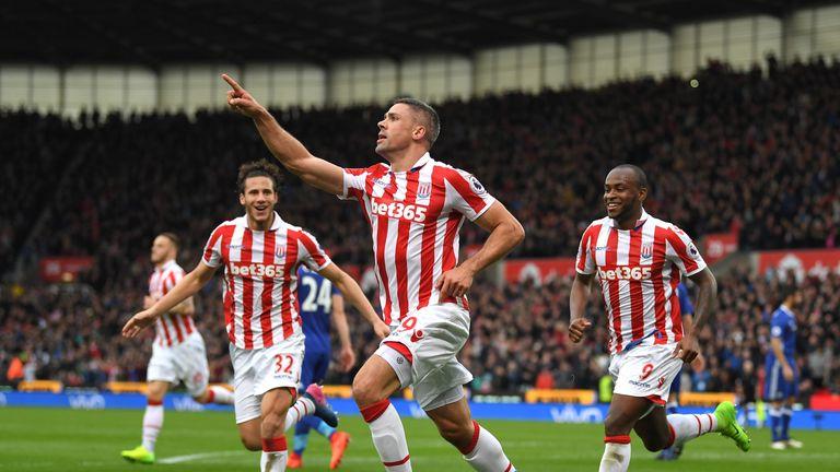 Jonathan Walters celebrates his equaliser for Stoke