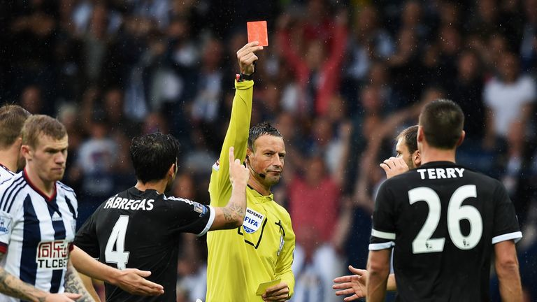 Terry was sent off against West Brom at the Hawthorns last season