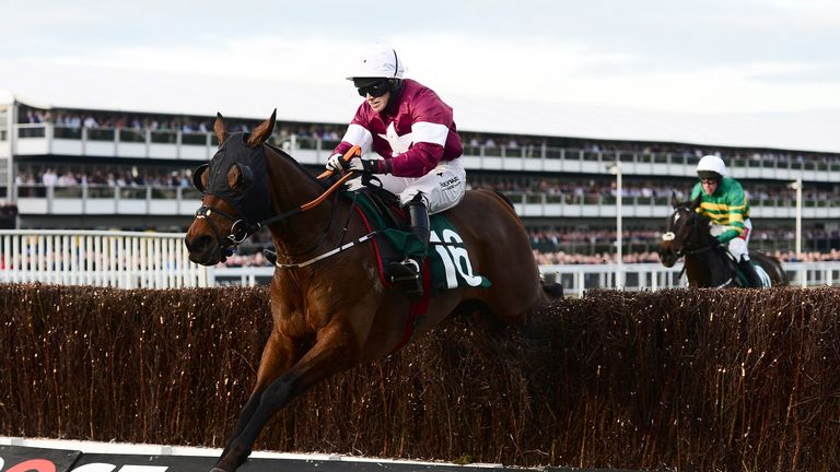 Tiger Roll on his way to a second Cheltenham Festival victory