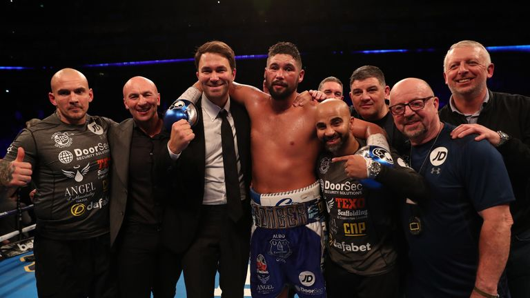 Coldwell joined the celebrations after Bellew's stunning victory over Haye in March