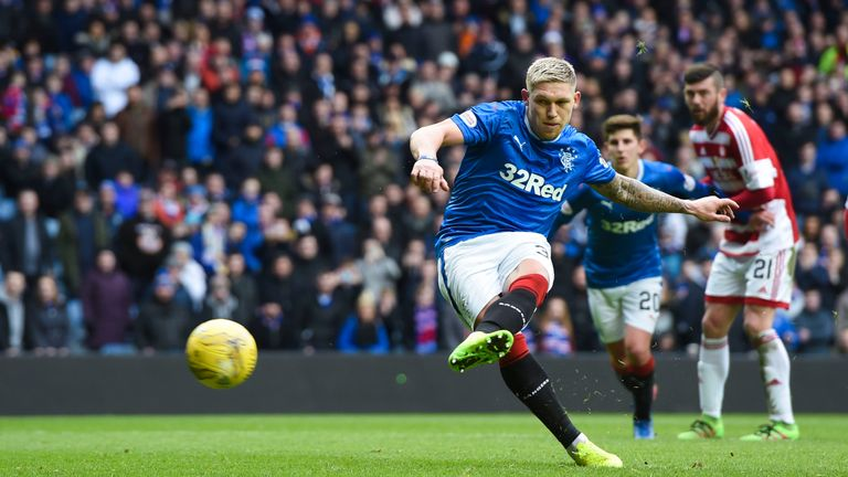 Martyn Waghorn opened the scoring from the penalty spot in the Cup rout of Hamilton