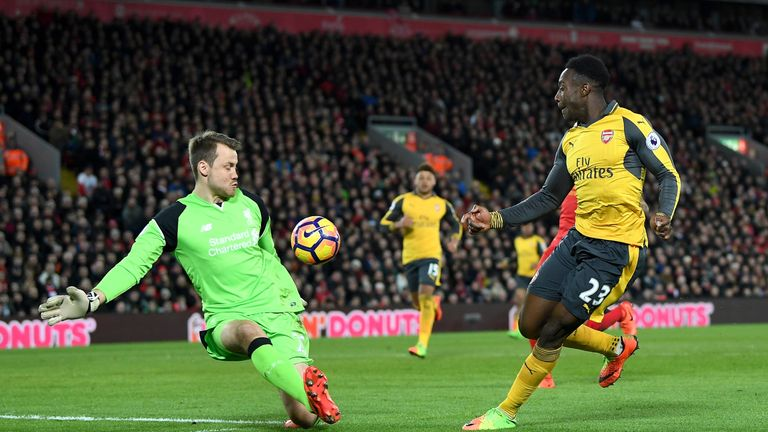 Danny Welbeck pulled one back for Arsenal in the second half