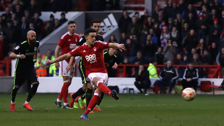 Nottingham Forest's Zach Clough scores his side's third goal of the game during the Sky Bet Championship match at the City Ground, Nottingham.