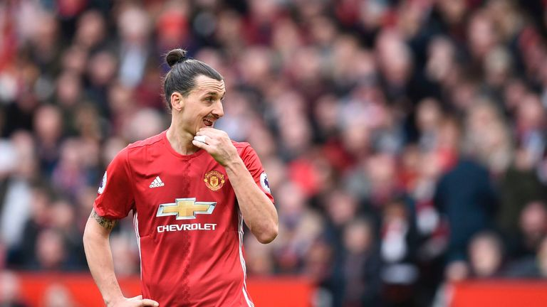 Manchester United's Swedish striker Zlatan Ibrahimovic gestures during the English Premier League football match between Manchester United and Bournemouth