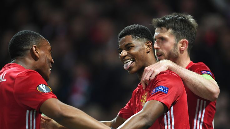 MANCHESTER, ENGLAND - APRIL 20:  Marcus Rashford of Manchester United celebrates with team mates as he scores their second goal during the UEFA Europa Leag