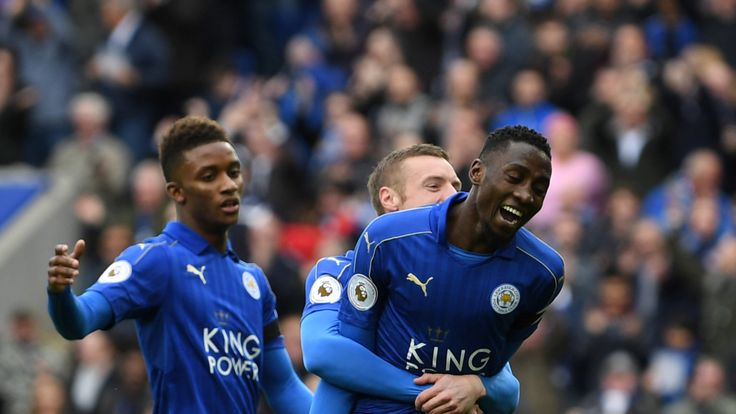 Wilfred Ndidi of Leicester City celebrates scoring his side's first goal against Stoke