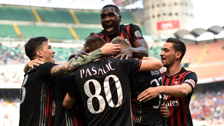 AC Milan players celebrating in their last match before the club takeover