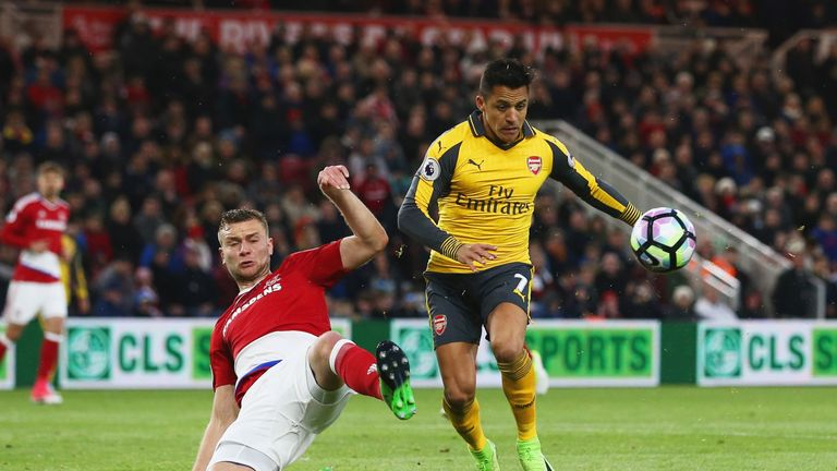 MIDDLESBROUGH, ENGLAND - APRIL 17:  Alexis Sanchez of Arsenal is challenged by Ben Gibson of Middlesbrough during the Premier League match between Middlesb