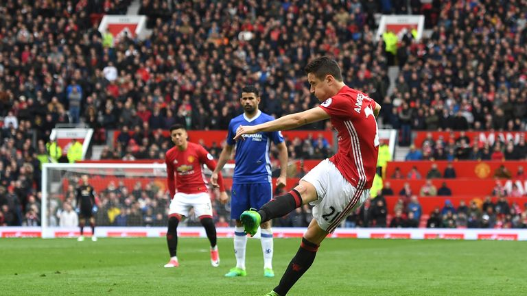 Ander Herrera of Manchester United scores his side's second goal during the Premier League match v Chelsea at Old Trafford