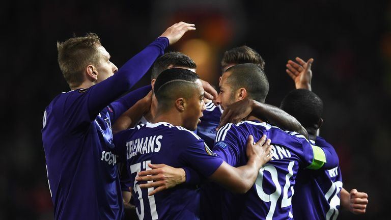 MANCHESTER, ENGLAND - APRIL 20:  Sofiane Hanni of RSC Anderlecht (94) celebrates as he scores their first goal with team mates during the UEFA Europa Leagu