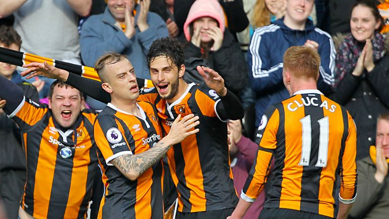 Hull City's Andrea Ranocchia celebrates scoring his side's second goal of the game with team-mates during the Premier League match v West Ham
