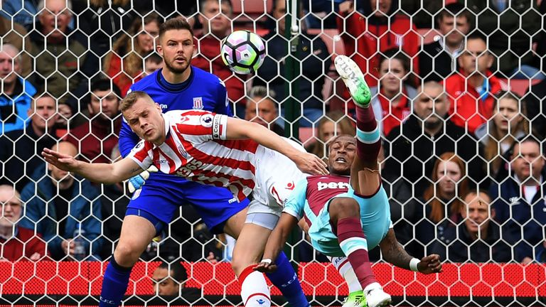 Andre Ayew has his overhead kick saved by Jack Butland