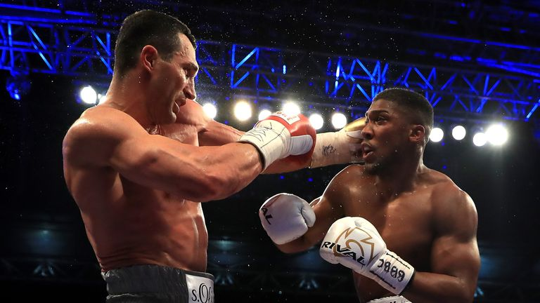 Joshua finally hurt Klitschko again in the 11th round
