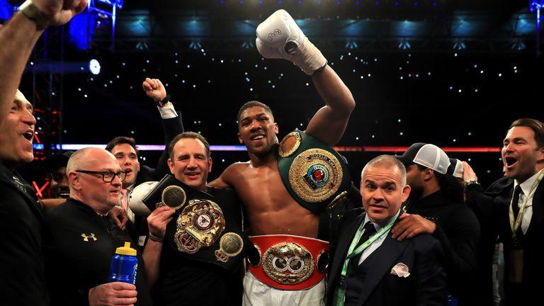 Anthony Joshua celebrates victory over Wladimir Klitschko in the IBF, WBA and IBO Heavyweight World Title bout at Wembley Stadium