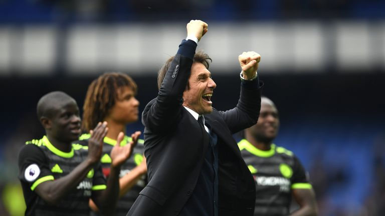 Antonio Conte, manager of Chelsea celebrates after the Premier League match between Everton and Chelsea at Goodison Park