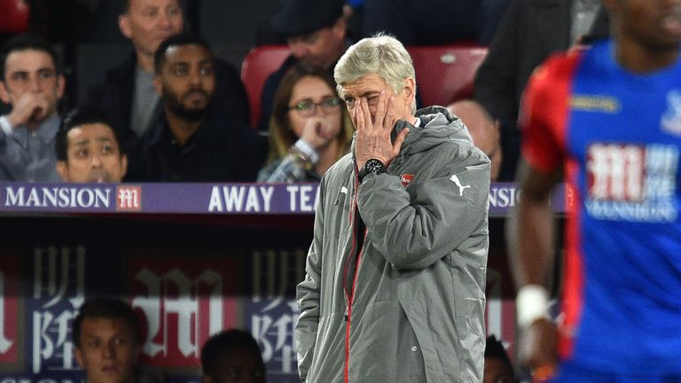 Arsenal's French manager Arsene Wenger watches from the touchline during the English Premier League football match between Crystal Palace and Arsenal at Se