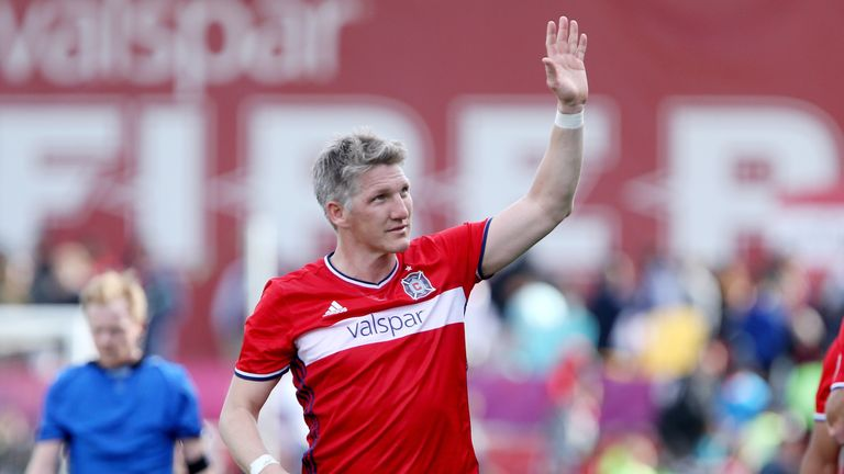 BRIDGEVIEW, IL - APRIL 01:  Bastian Schweinsteiger #31 of Chicago Fire waves to the crowd after the Chicago Fire drew 2-2 agianst the Montreal Impact at To