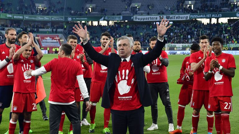 Ancelotti celebrates after leading Bayern to their fifth consecutive Bundesliga title