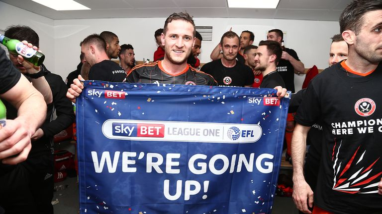 Billy Sharp of Sheffield United celebrates promotion