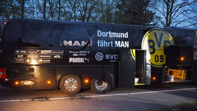 Borussia Dortmund's damaged bus is pictured after Tuesday night's explosion