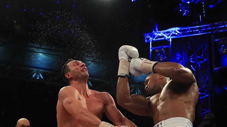 Anthony Joshua connects with a huge uppercut against Wladimir Klitschko